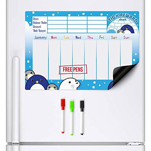 CKB Ltd Magnetische beloningsdiagram, pinguïn belooningsbord, sluit 3 markeerstiften, A3-formaat, droog wissen magneten, planner en gedrag, magnetisch whiteboard koelkast