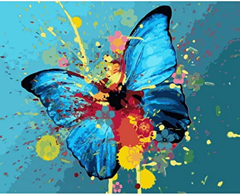 CZYYOU DIY, Ölgemälde Durch Zahlen Malen Nach Zahl Für Hauptdekorölbild, Das Blauen Schmetterling Malt, Ohne Rahmen, 40x50cm B07PY96KT1   Perfekte Verarbeitung