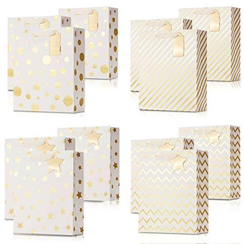 UNIQOOO 12PCS Cute Metallic Gold Gift Bags Bulk with Handles Tag, Large 12.6 Inch 4 Assorted Modern Design Geometric Paper Thank You Wrap Bag, Durable For Birthday Anniversary Mothers Day Easter Wedd