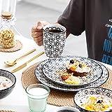 Vancasso, Haruka Kombiservice aus Porzellan, 40 TLG. Rund Geschirr Set, mit Kaffeebecher, Müslischale, Dessertteller, Flachteller und Tiefteller, Tafelservice für 8 Personen - 7