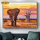 XCxCN 5D-DIY-Diamante Pintura Elefante al Atardecer Paisaje Completo Mosaico Animal decoración para Regalos del hogar Diamante Cuadrado sin Marco -40x50cm