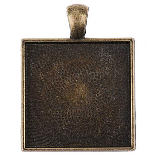 Juego de 10 bases cuadradas de 25 mm para cabujones cuadrados, para hacer manualidades, collar y colgante de bandeja, aleación