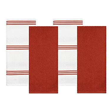Sticky Toffee Cotton Terry Kitchen Dish Towel, Orange, 4 Pack, 28 in x 16 in