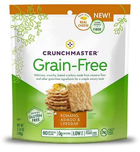 Crunchmaster Grain-Free Crackers, Romano, Asiago & White Cheddar, 3.54 Ounce Bag