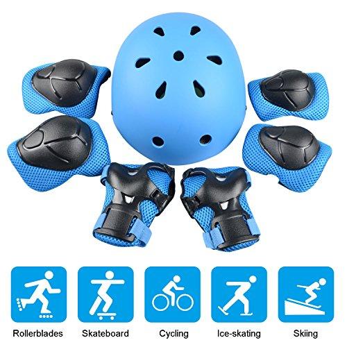 JIM'S STORE Casco y Protecciones Ajustable Infantiles Rodilleras Coderas, Set di Casco 7 Piezas/Set para Scooter Ciclismo Rodillo Patinaje (Azul)