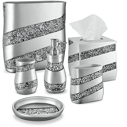 DWELLZA 6-Piece Bathroom Accessories Set, Complete Bath Set Includes Countertop Soap Dispenser, Toothbrush Holder, Tumbler, Soap Dish, Square Tissue Cover, Wastebasket (Silver Mosaic)