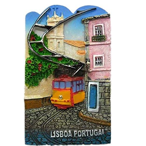 Calamita da frigo in resina 3D, con scritta in lingua inglese 'Lisbon Tram Portogallo', regalo turistico, fatto a mano, creativa, decorazione per casa e cucina