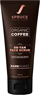 Spruce Shave Club Organic Coffee De Tan Face Scrub With Multani Mitti For Tan Removal | No Sulfates Or Parabens | 10 Natural Ingredients