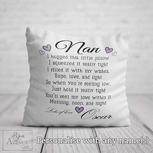 Nan Hug Pillow - Grandma Hugs Birthday Cushion - Personalised Nan Nanna Granny Nannie Gran Hugs Mother's Day Sofa Pillow 40 x 40cm 16 x 16in