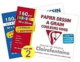 Clairefontaine 196778AMZC - Un lot de 2 pochettes Dessin 15 feuilles (12 + 3...
