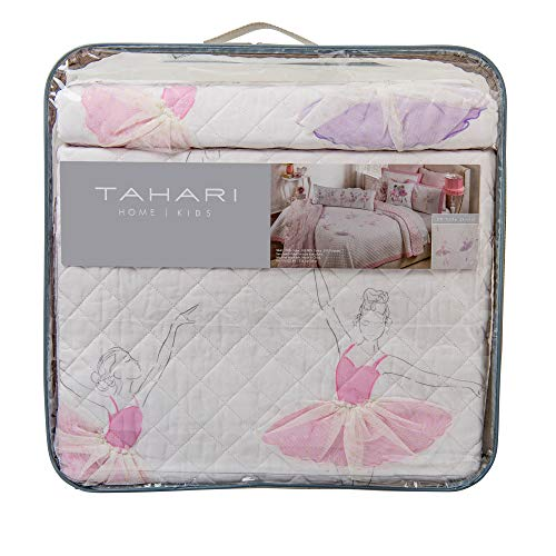 Tahari Pretty Dancing Ballerinas Ballet Class Pastel 3D Tulle Skirts Twin Cotton Quilt Set Pink Purple on White Background