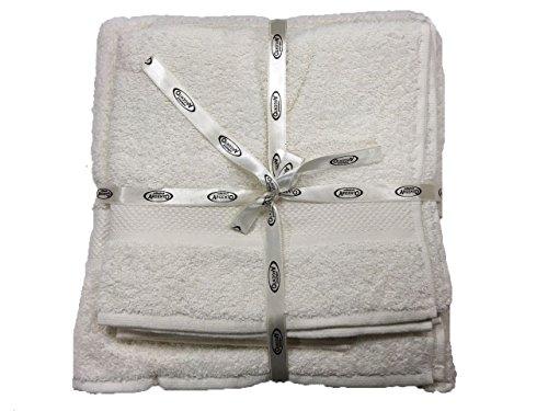 tris asciugamani telo doccia viso e ospite ARGENTO 400.gr in 100% cotone (PANNA)