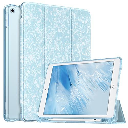 MoKo Funda Compatible con iPad 8ª Generación 10.2' 2020/iPad 7ª Generación 2019, Cubierta de PU Cuero con TPU Carcasa Trasera Translúcida Soporte Cubierta con Auto Estela/Reposo, Azul Cielo Moteado