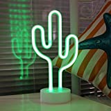 Cactus Neon Signs, LED Neon Light Sign with Holder Base for Party Supplies Girls Room Decoration Accessory for Luau Summer Party Table Decoration Children Kids Gifts (Cactus with Holder)