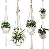 Sixyotie Macramé Colgadores de Plantas Cuerda de algodón para Colgar macetas para Colgar macetas para Interior y Exterior Boho Home Decor (4)