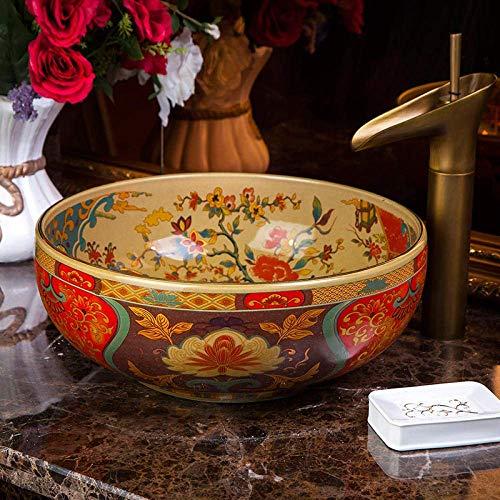 KEKEYANG Estilo de la Vendimia de Europa Cuenca del Arte de cerámica Fregaderos Mostrador Recipiente de tocador de Porcelana lavabos Antiguos de cerámica Lavabo Fregadero Cuarto de baño Decoración