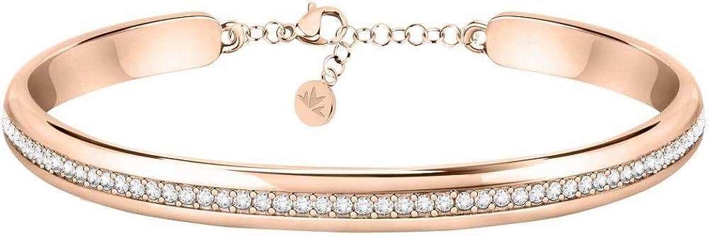 morellato, bracciale da donna, collezione cerchi, in acciaio, pvd oro rosa e cristalli sakm74