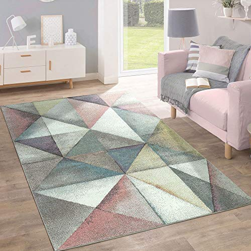 Paco Home Kurzflor Teppich Trendige Pastellfarben Modernes Triangel Design Mehrfarbig Bunt, Grösse:120x170 cm