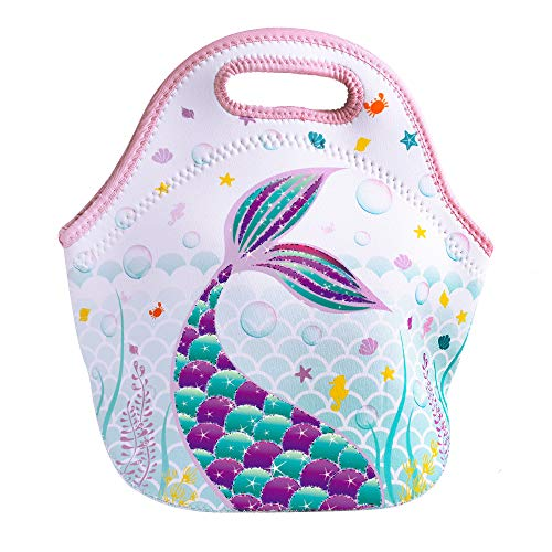 WERNNSAI Mermaid Lunch Bag - Neoprene Insulated Lunch Tote Bag for School Outdoor Picnic Shopping Reusable Waterproof Lunch Handbag with Zipper Best Gifts