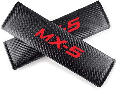 2 Pcs Car Seat Belt Pads Strap for Mazda MX5 MX-5, Soft Comfort Carbon Fiber Seat Belts Shoulder Cushion Cover, Seatbelt Padding, Car Accessory