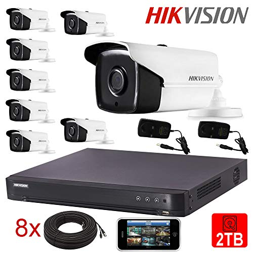 Hikvision - Kit de cámaras CCTV de 5 MP, visión Nocturna, cámara Bala para Exteriores, 40 m, IR 4K 8 MP, DVR UK - DS-2CE16H0T-IT3F - DS-7216HUHI-K2, Blanco