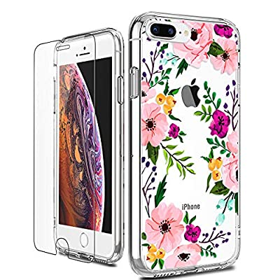 LUHOURI iPhone 8 Plus Case, Clear iPhone 7 Plus Case with Screen Protector, Girls Women Heavy Duty Protective Hard Case with Slim Soft TPU Bumper Silicone Cover Phone Case for iPhone 8 Plus / 7 Plus