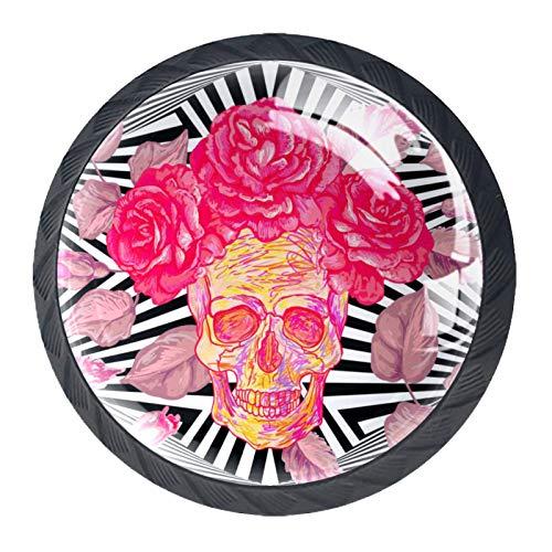 BestIdeas Pomos redondos para cajón 4 paquetes de 30 mm con diseño de calavera y rosas con estampado abstracto de rayas negras y blancas utilizadas para dormitorio, aparador, armario, puerta de cocina
