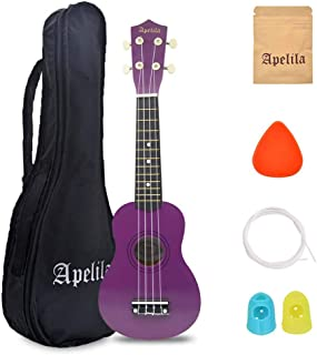 Apelila 21 inch Soprano Ukulele Acoustic Mini Guitar Musical Instrument with Bag, Pick, Strings, for Beginner, Kid, Starter, Amateur (Purple)