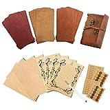 Gwolf Diario de viaje, papel de cartas vintage y sobres vintage con pegatinas redondas de papel...