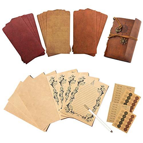 Gwolf Diario de viaje, papel de cartas vintage y sobres vintage con pegatinas redondas de papel kraft, 32 piezas de papel para escribir, 18 piezas de sobre y 4 piezas de pegatinas redondas