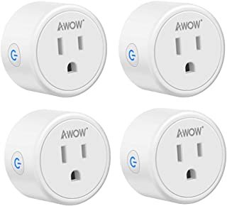Smart Plug AWOW Mini Smart Socket Wifi Outlet 10A Compatible With Alexa, Google Home and IFTTT, No Hub Required,Remote Control Your Home Appliances from Anywhere, Only Supports 2.4GHz Network(4-Pack)