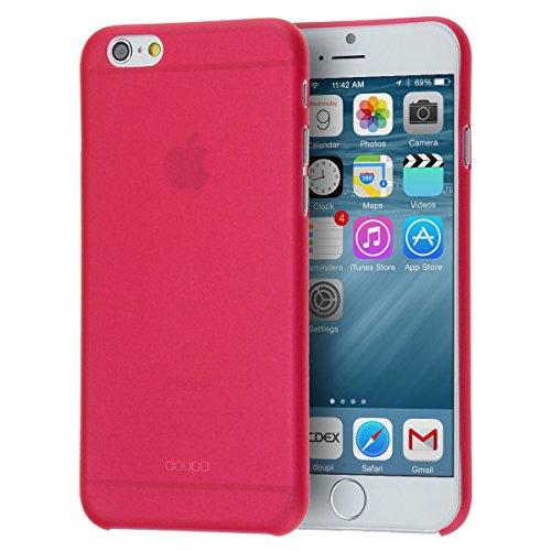 doupi UltraSlim Custodia per iPhone 6 Plus / 6S Plus (5,5 Pollici), Satinato fine Piuma Facile Mat Semi Trasparente Cover, Rosso