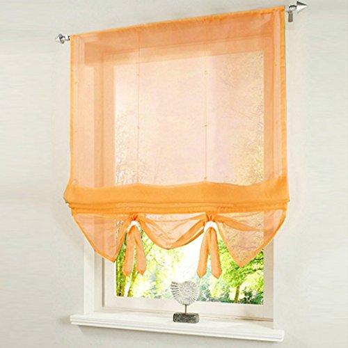 Yujiao Mao Voile Raffrollo Bändchenrollo mit Tunnelzug Gardinen 1er-Pack Vorhang H*B 155 * 100cm Orange