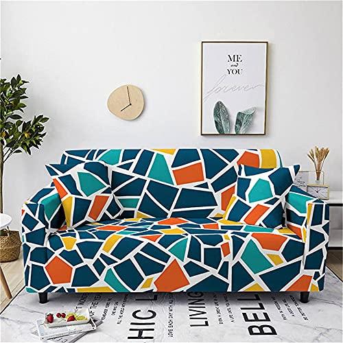 Meiju Funda de Sofá Elástica para Sofá de 1 2 3 4 Plazas, Ajustable 3D Geometría Estampada Cubre Sofa con 1 Funda de Cojín, Antisuciedad Antideslizante Protector de Muebles (Verde Azulado,1 plazas)
