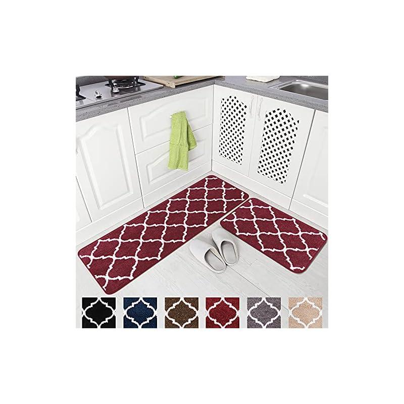 "silk flower arrangements carvapet 2 pieces microfiber moroccan trellis non-slip soft kitchen mat bath rug doormat runner carpet set, 17""x48""+17""x24"", red"
