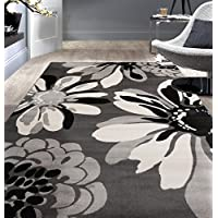 Rugshop Modern Flowers Area Rug (Gray)