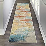 Nourison Celestial Modern Abstract Area Rug Runner, 2'2' x 10' (2x10), Sealife Multicolor Grey