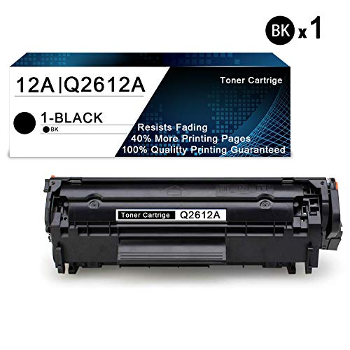 1 Pack Black 12A | Q2612A Compatible Toner Cartridge Replacement for HP Laserjet 1020 1022 1022n 1010 1015 1018 3052 MFP 3055 MFP 3050 MFP 3030 MFP 3020 MFP 3380 MFP M1319f Printers Toner Cartridge.