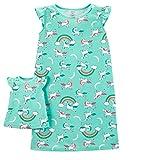 Carter's Girls' 4-14 Jersey Gown and Doll Dress Set (4-5/Unicorn) Mint