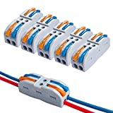 QitinDasen 15Pcs KV212 Palanca Tuerca Cable Conector, 2 en 2 fuera Bilateral 4 Puertos Compacto Conductor Conector, Rápido Cable Conector Resorte Bloque Terminal (Palanca Multicolor)