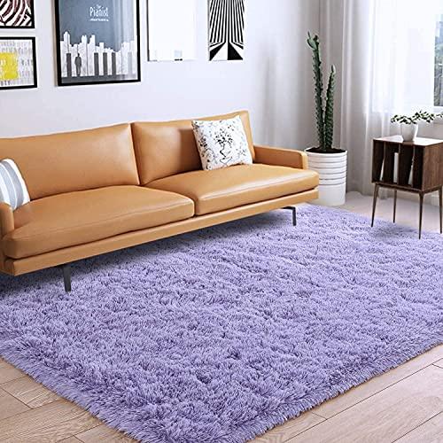 Oustore Alfombra suave y esponjosa para salón, de lujo, antideslizante, lavable a máquina, color lila, 120 x 160 cm