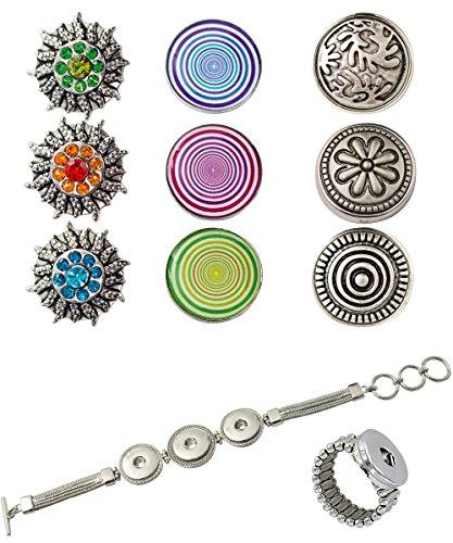 Sunsa Chunkset voor dames, met drukknopen, set voor: ring, armband en 9 drukknopen Sieradenset zijn leuke zus/oma/mama cadeau vrouwen
