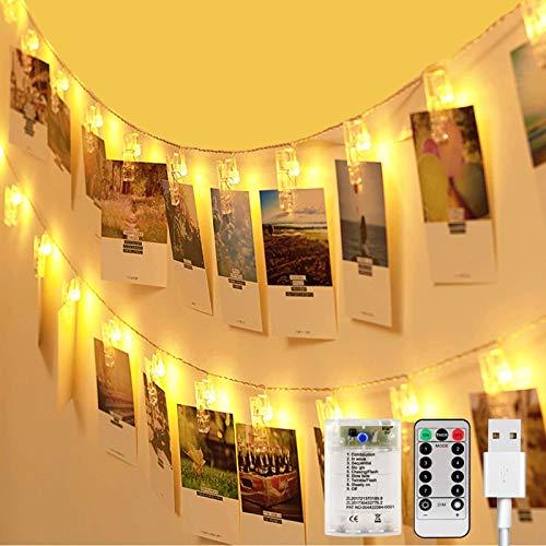 LED Fotoclips Lichterkette Zimmer Deko, AIGUOZER 8 Modi 50 Fotoclips 6M Fotolichterkete mit Fernbedienung USB/Batteriebetrieben Bilderrahmen Deko für innen/Weihnachten/Hochzeit/Schlafzimmer Warmweiß