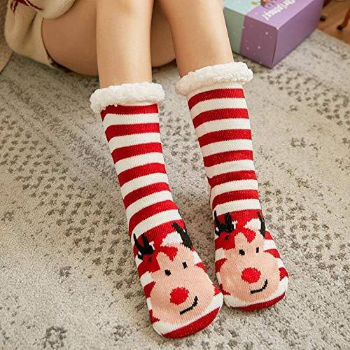 whmyz Christmas Women Cotton Socks Print Calcetines gruesos antideslizantes para el suelo...