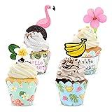 96 envoltorios y adornos para cupcakes de verano de Hawaii, adornos para cupcakes, adornos para tartas con frutas y flamencos, para Luau, fiesta tropical, cumpleaños, baby shower, suministros fiestas
