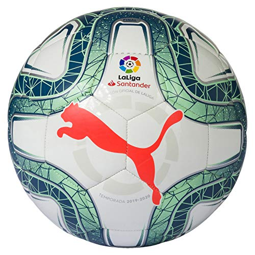 PUMA LaLiga 1 Mini Balón de Fútbol, Adultos Unisex, White-Green Glimmer-Nrgy Red, Mini