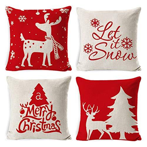 Tscdy 4pz Natale Federa per Cuscini, Buon Natale Cuscini per...