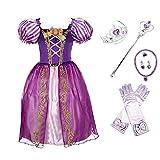 yanhuigang Vestido Elegante y cómodo Niñas Rapunzel Snow Blanco Vestido Niños Verano Fancy Princess Traje Niños Halloween Cumpleaños Vestidos (Color : Rapunzel A Set, Kid Size : 6)