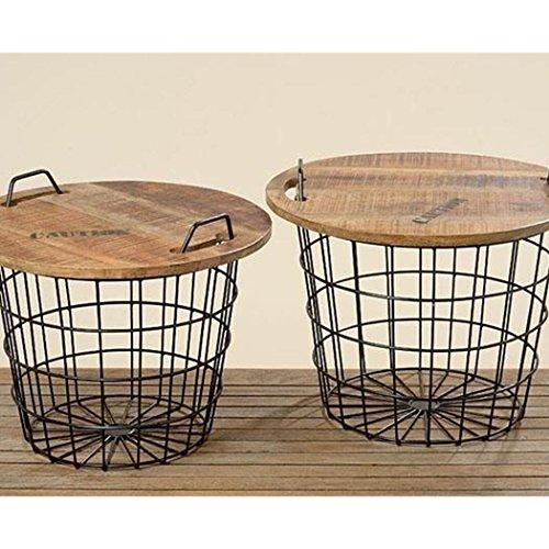Wadiga salontafel, rond, industriële stijl, van hout en metaal, Flexo