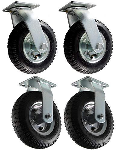 2x Lenkrolle + 2 x Bockrolle Luftrad 260mm hoch, 135kg Reifen Rad auf Stahlfelge für Schubkarre Sackkarre Bollerwagen Strandwagen Anhänger
